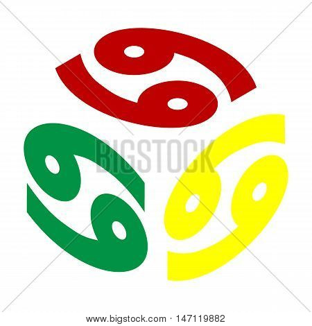 Cancer Sign Illustration. Isometric Style Of Red, Green And Yellow Icon.