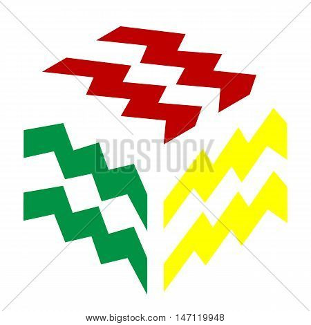 Aquarius Sign Illustration. Isometric Style Of Red, Green And Yellow Icon.
