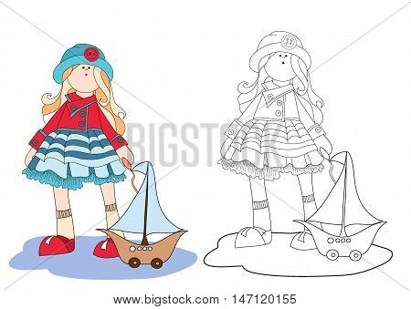 Coloring for girls. Beautiful girl with the ship. Vector. Doll with ship. Little girl. cartoon hero