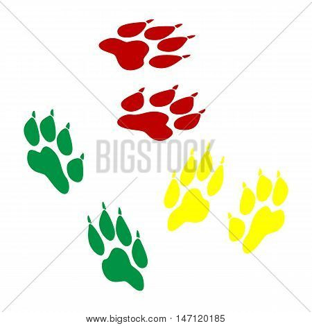 Animal Tracks Sign. Isometric Style Of Red, Green And Yellow Icon.