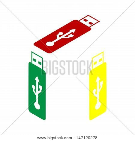 Vector Usb Flash Drive Sign. Isometric Style Of Red, Green And Yellow Icon.