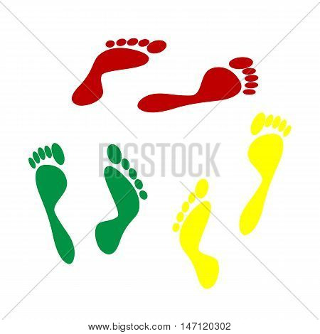 Foot Prints Sign. Isometric Style Of Red, Green And Yellow Icon.