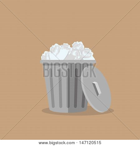 Trash bin garbage icon isolated vector illustration