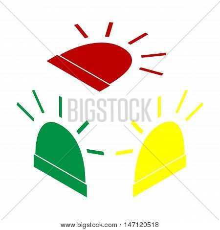 Police Single Sign. Isometric Style Of Red, Green And Yellow Icon.