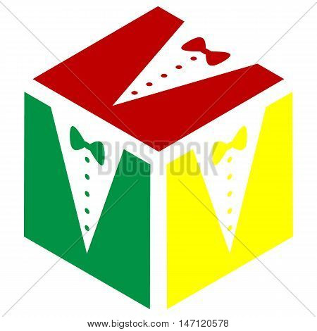 Tuxedo With Bow Silhouette. Isometric Style Of Red, Green And Yellow Icon.