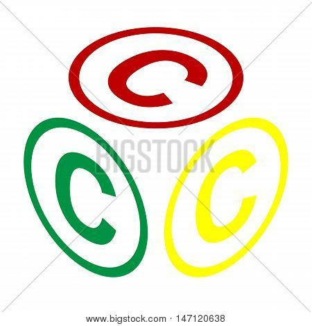 Copyright Sign Illustration. Isometric Style Of Red, Green And Yellow Icon.