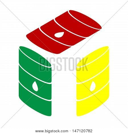 Oil Barrel Sign. Isometric Style Of Red, Green And Yellow Icon.