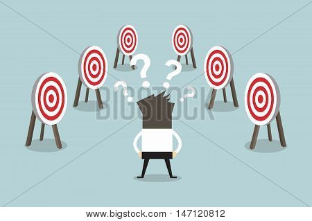 Confused businessman with many tasks and target. vector