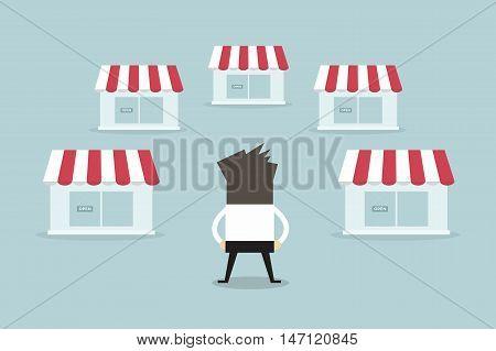 Businessman with shop franchise concept. business concept. flat design