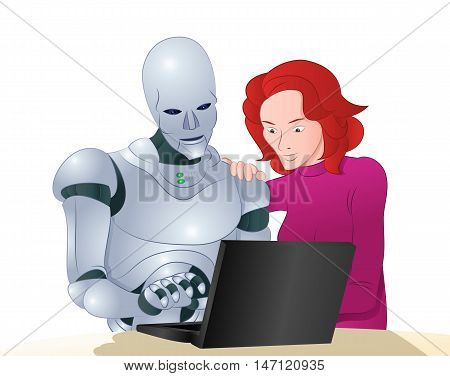 illustration of a droid robot helping woman learning laptop on isolated white background