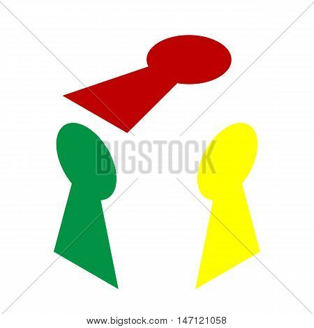 Keyhole Sign Illustration. Isometric Style Of Red, Green And Yellow Icon.