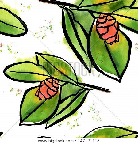 A seamless vector background pattern with beautiful pink watercolor camellia buds with green leaves and splashes of paint, on white