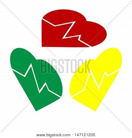 Heartbeat Sign Illustration. Isometric Style Of Red, Green And Yellow Icon.