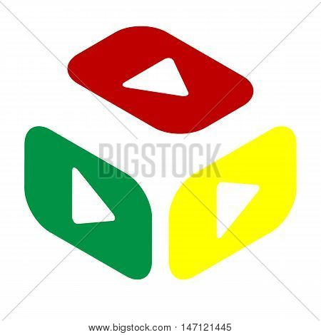 Play Button Sign. Isometric Style Of Red, Green And Yellow Icon.