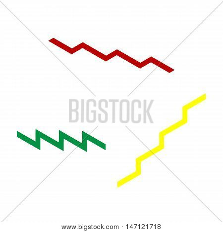 Stair Up Sign. Isometric Style Of Red, Green And Yellow Icon.