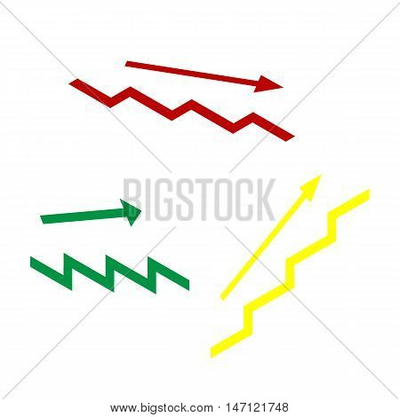 Stair With Arrow. Isometric Style Of Red, Green And Yellow Icon.