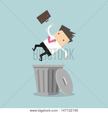 Businessman dropped into trashcan layoff concept vector