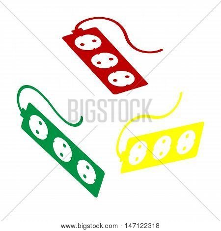 Electric Extension Plug Sign. Isometric Style Of Red, Green And Yellow Icon.