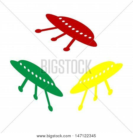 Ufo Simple Sign. Isometric Style Of Red, Green And Yellow Icon.