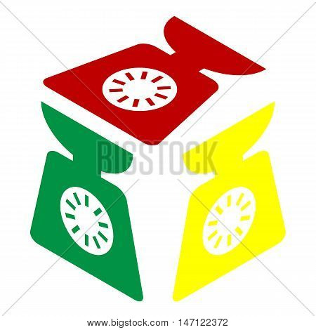 Kitchen Scales Sign. Isometric Style Of Red, Green And Yellow Icon.