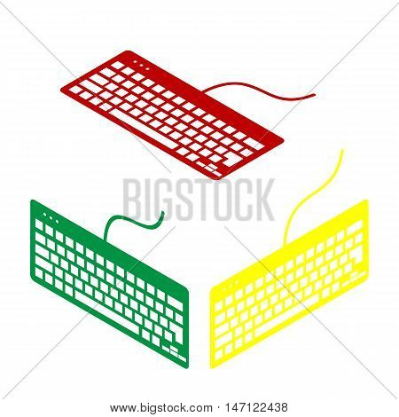 Keyboard Simple Sign. Isometric Style Of Red, Green And Yellow Icon.
