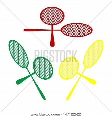 Tennis Racquets Sign. Isometric Style Of Red, Green And Yellow Icon.