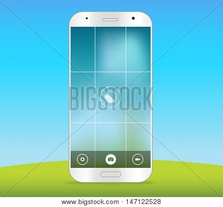 Modern smartphones photo application template. Vector layout