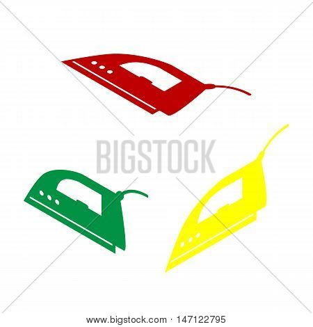 Smoothing Iron Sign. Isometric Style Of Red, Green And Yellow Icon.