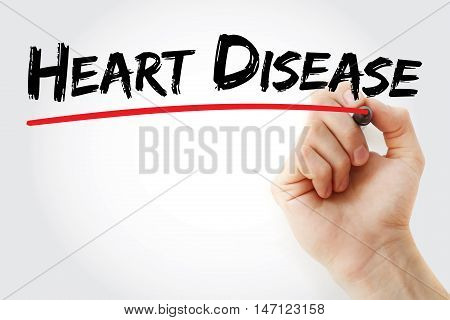 Hand Writing Heart Disease With Marker