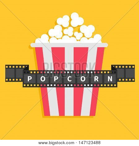 Big Popcorn. Film strip ribbon line with text. Red white box. Cinema movie night icon in flat design style. Yellow background. Vector illustration
