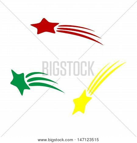 Shooting Star Sign. Isometric Style Of Red, Green And Yellow Icon.
