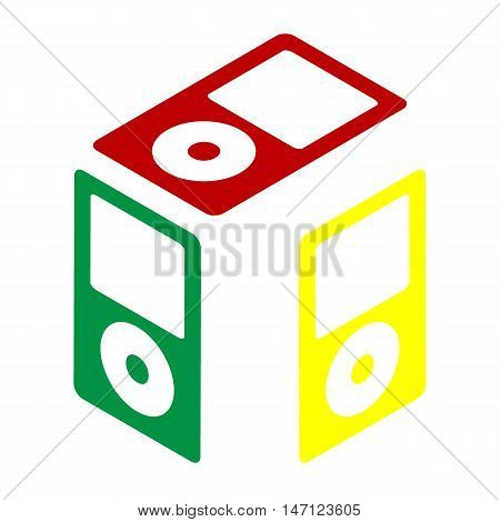 Portable Music Device. Isometric Style Of Red, Green And Yellow Icon.