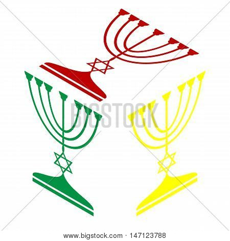 Jewish Menorah Candlestick In Black Silhouette. Isometric Style Of Red, Green And Yellow Icon.