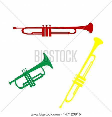 Musical Instrument Trumpet Sign. Isometric Style Of Red, Green And Yellow Icon.