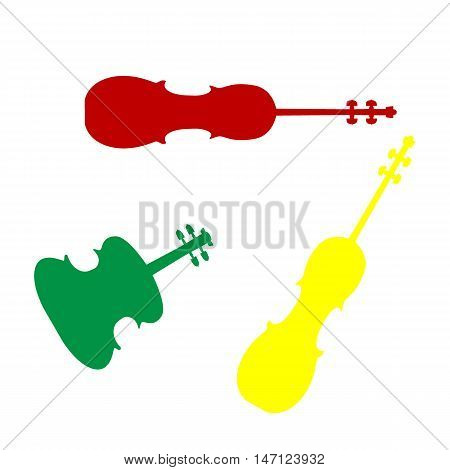 Violine Sign Illustration. Isometric Style Of Red, Green And Yellow Icon.
