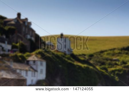 View Down The Old Streets On Port Issac Out Of Focus.