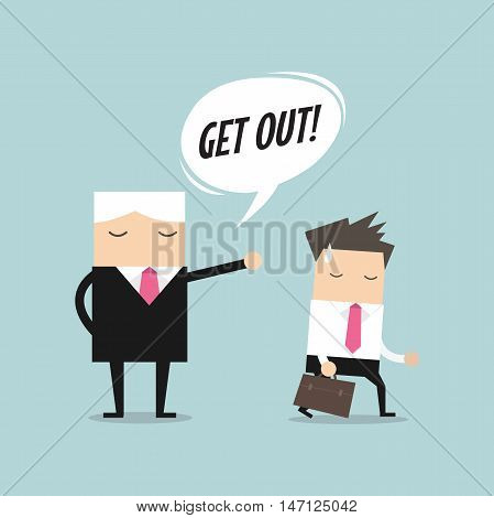 Angry boss firing employee. Layoff concept, jobless and employee job reduction concept vector.