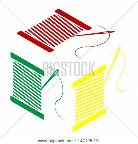 Thread With Needle Sign Illustration. Isometric Style Of Red, Green And Yellow Icon.