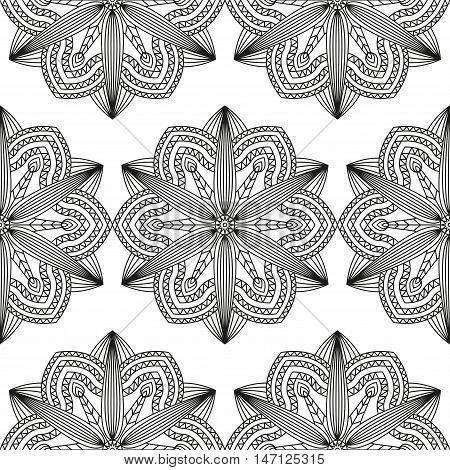 Seamless  pattern of black & white floral geometric elements. Vector illustration tile for coloring book pages, paper & textile design prints, digital backgrounds & mural art.