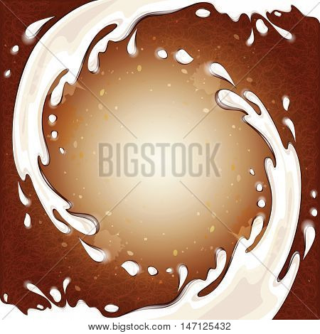 Milk splashes on the coffee background. Isolated vector illustration.