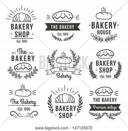 Hand drawn bakery label set with bakery shop bakery house est 1986 descriptions vector illustration