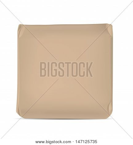Brown blank foil or paper packaging isolated on white background. Sachet for soap coffee spices sweets cookies and flour.