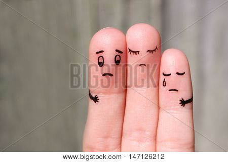 Finger art of displeased family. Concept of solution to problems, support in difficult situations.