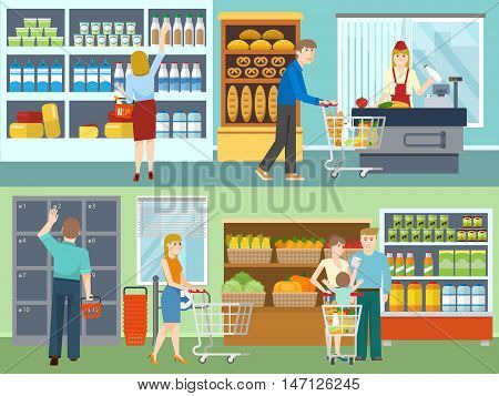 Buyers in supermarket concepts with cash desk dairy products vegetables and bread storage lockers isolated vector illustration