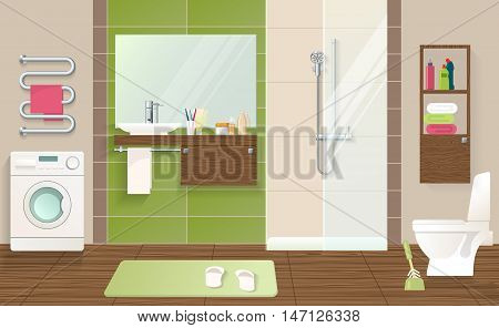 Bathroom interior concept with laundry machine sanitary equipment green beige walls and tiled brown floor vector illustration