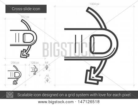 Cross-slide vector line icon isolated on white background. Cross-slide line icon for infographic, website or app. Scalable icon designed on a grid system.