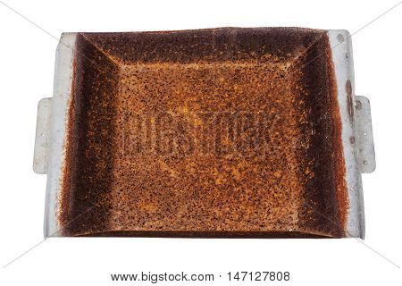 Close up high view of isolated neglected rusty grungy decayed patterns and textures on rusted metal tray surface background