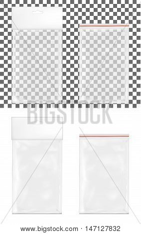 Transparent empty plastic packaging with zipper. Blank sachet with hang slot.