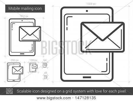 Mobile mailing vector line icon isolated on white background. Mobile mailing line icon for infographic, website or app. Scalable icon designed on a grid system.