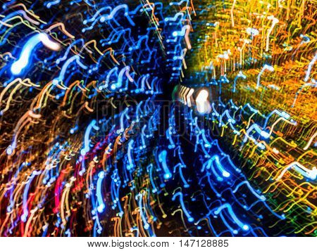 Picture of colorful random abstract light trails bokeh